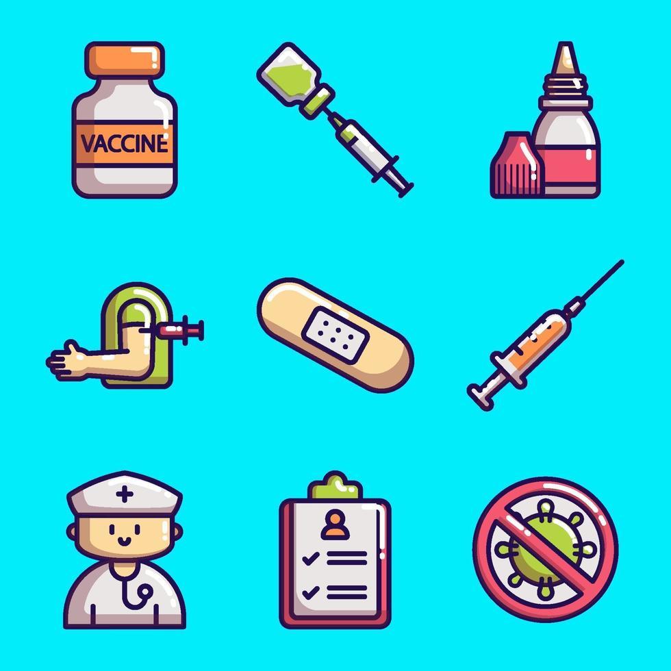 icon collecties van vaccinatie covid-19 vector