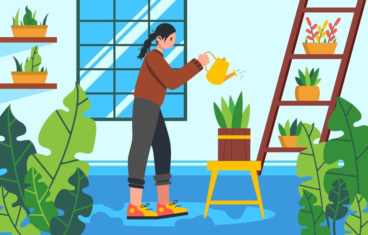 planten in kas water geven vector