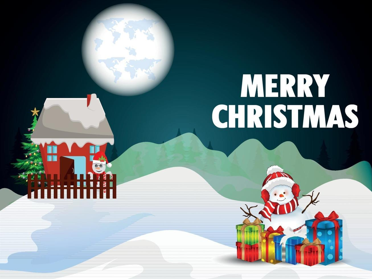 vrolijk kerstfeest uitnodiging wenskaart met vector sneeuwballen en feestballen
