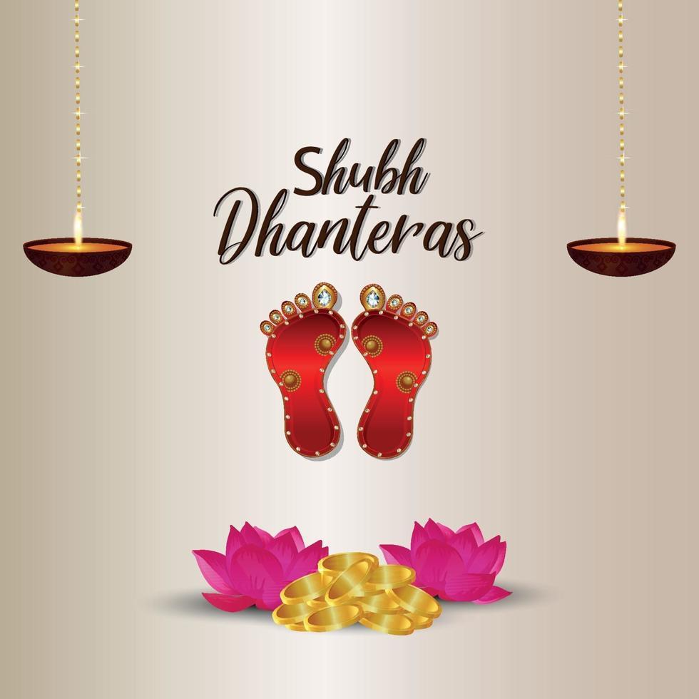 gelukkige dhanteras viering vectorillustratie van de voetafdruk van de godin laxami op witte achtergrond vector