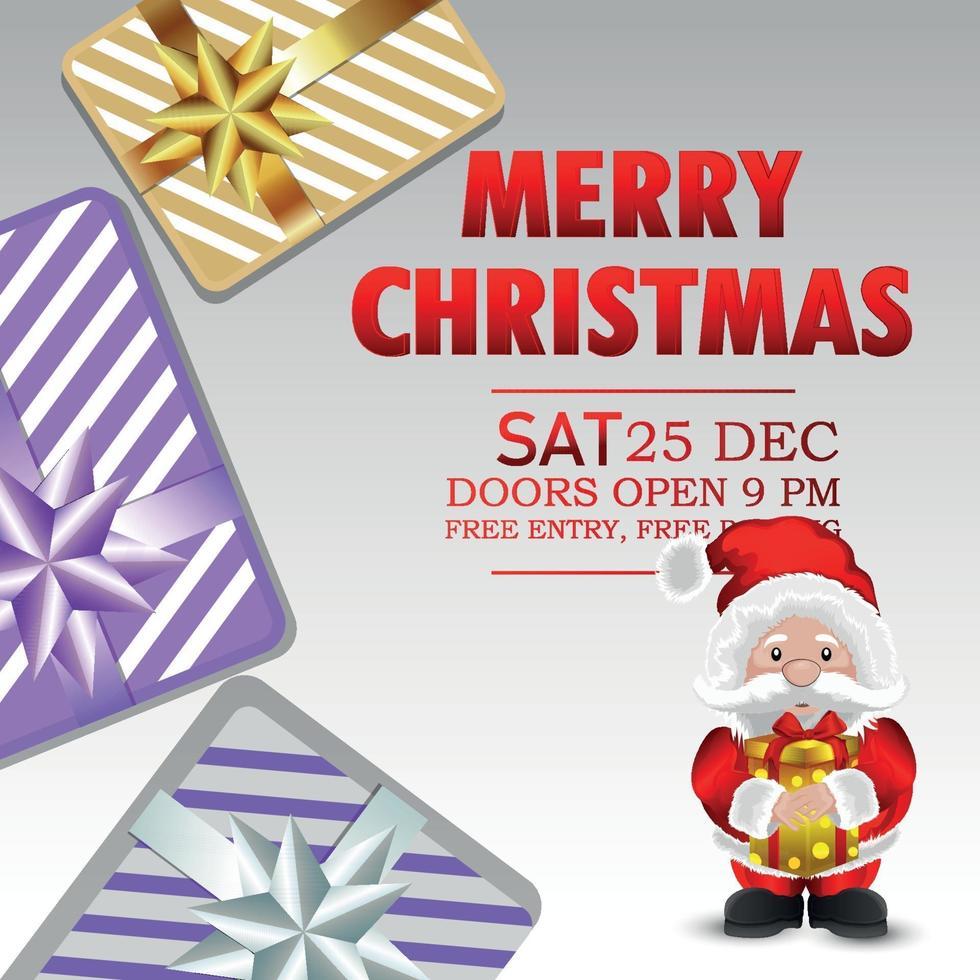 vrolijk kerstfeest uitnodiging vakantie wenskaart met vectorillustratie van santa vector