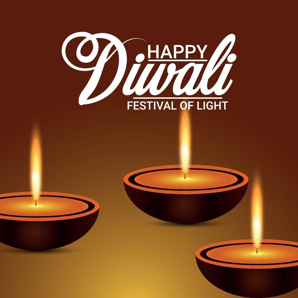 gelukkige diwali-viering wenskaart met vectorillustratie van diwali diya vector
