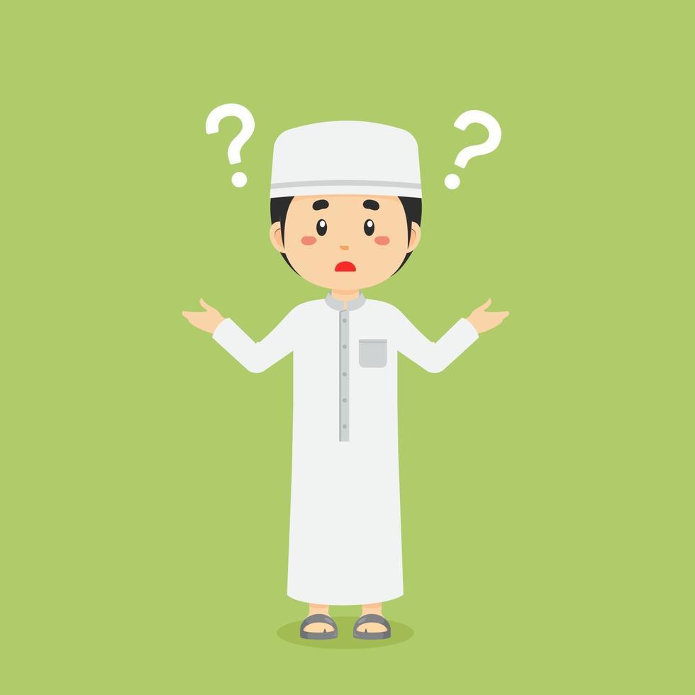 verward moslim met vraagteken vector