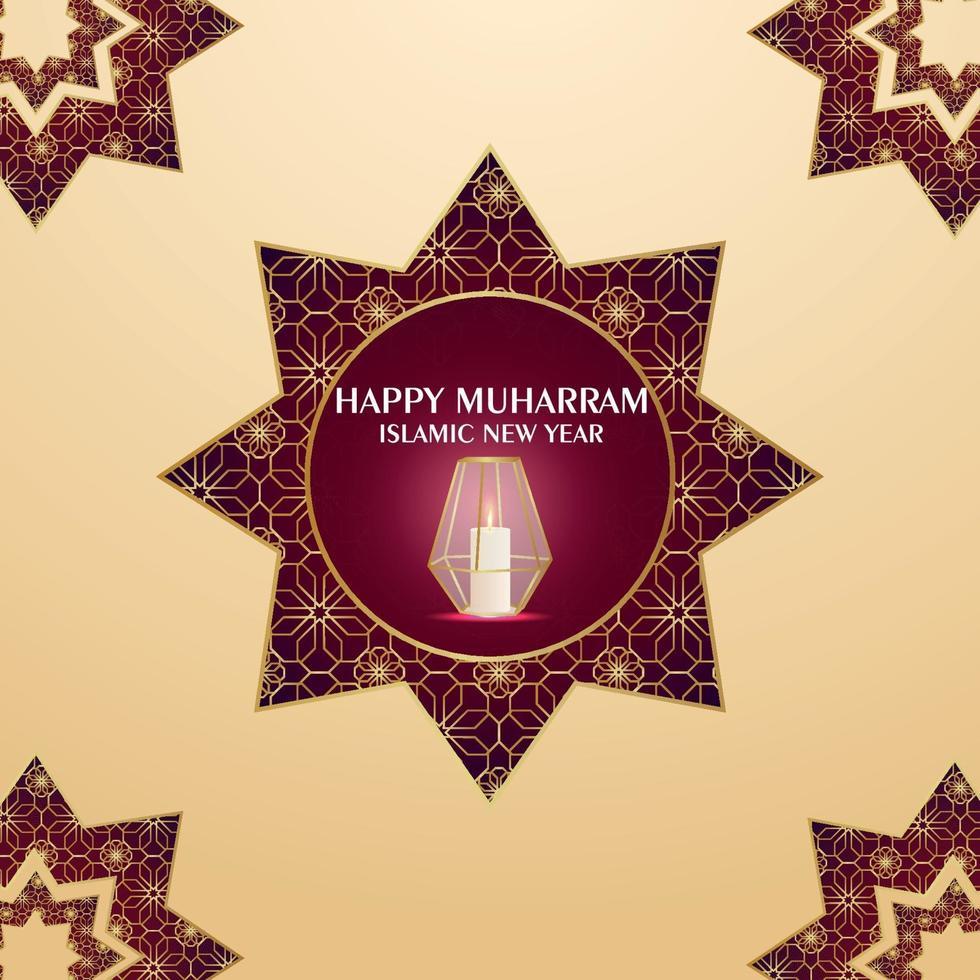 islamitisch nieuwjaarsuitnodigingskaartontwerp met patroonachtergrond met gouden lantaarn vector