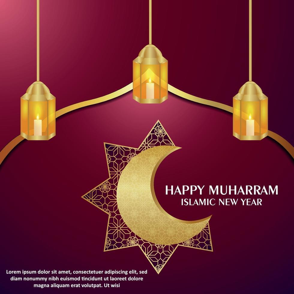 gelukkig muharram islamitisch nieuwjaar met Arabisch patroon gouden maan en lantaarn vector