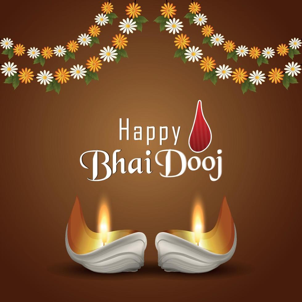gelukkige bhai dooj indiase festival uitnodiging wenskaart met diwali diya vector