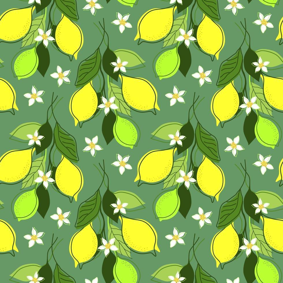 naadloze muntachtergrond met citroentakken vector