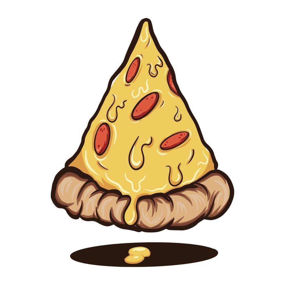 cartoon pizzaplak met kaas en diverse toppings vectorillustratie vector