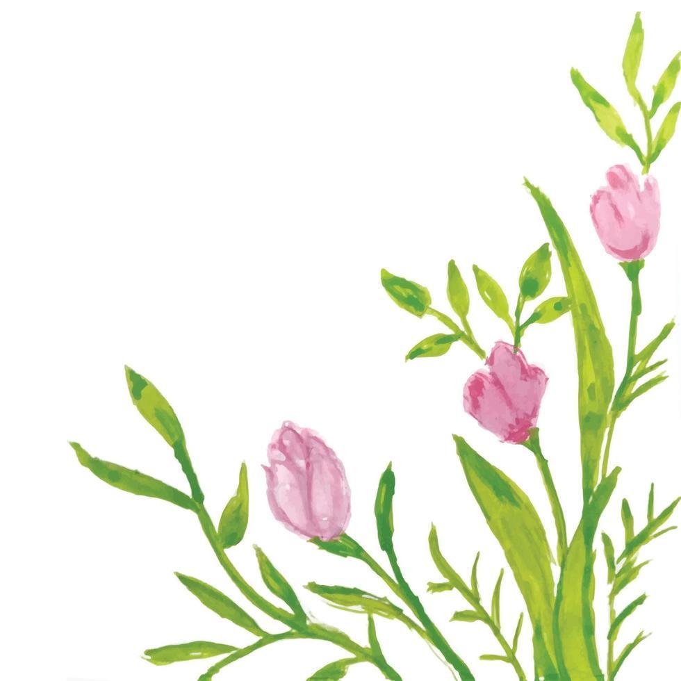 bloem frame in aquarel stijl geïsoleerd op een witte achtergrond vector