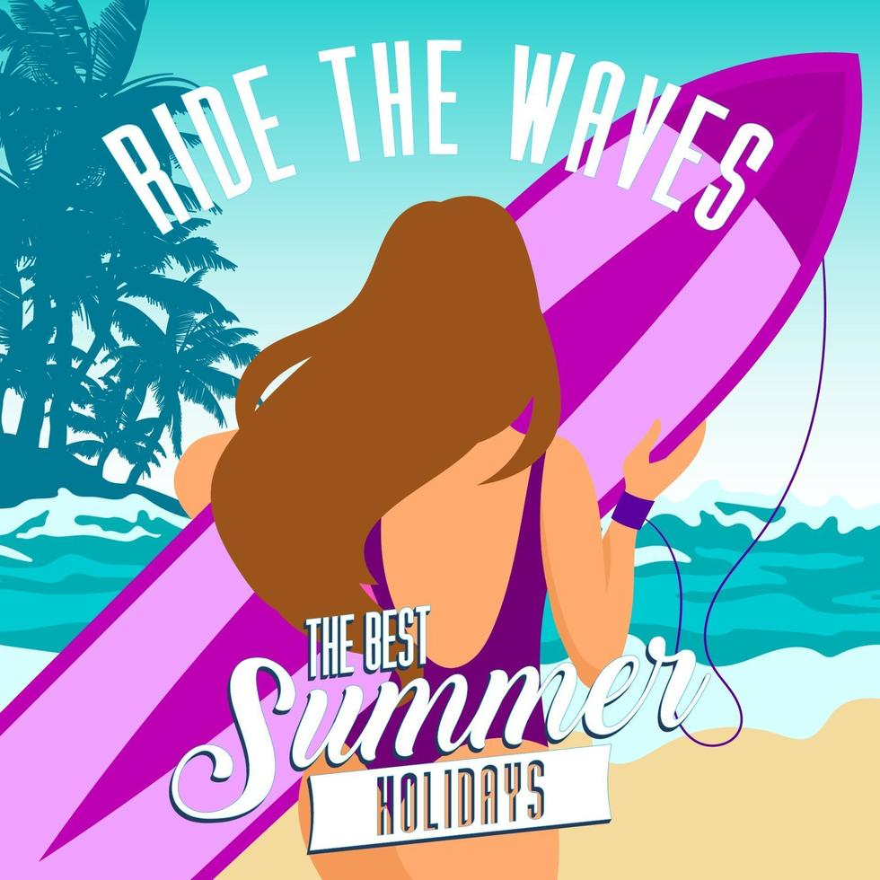 mooi surfer meisje op het zonnige strand vector
