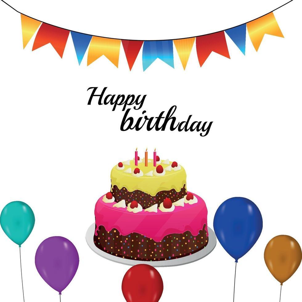 vectorillustratie van cake en ballon voor gelukkige verjaardag op witte achtergrond vector