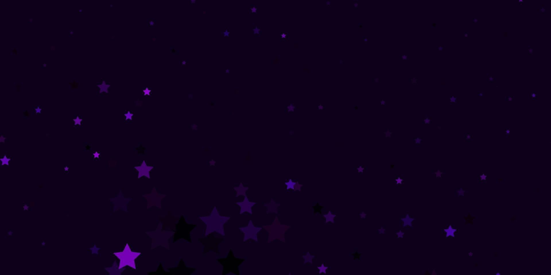 donkerroze vectorachtergrond met kleurrijke sterren. vector