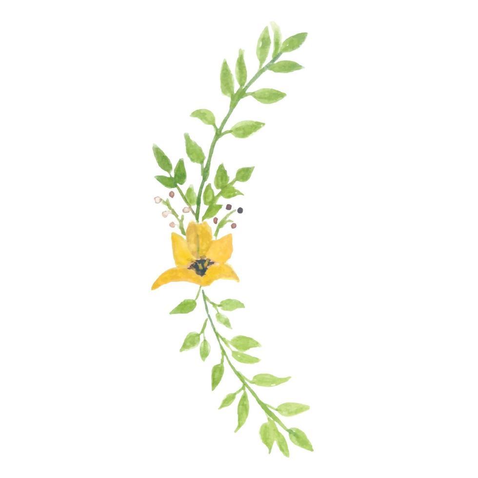 aquarel bloem en aquarel groene planten vector
