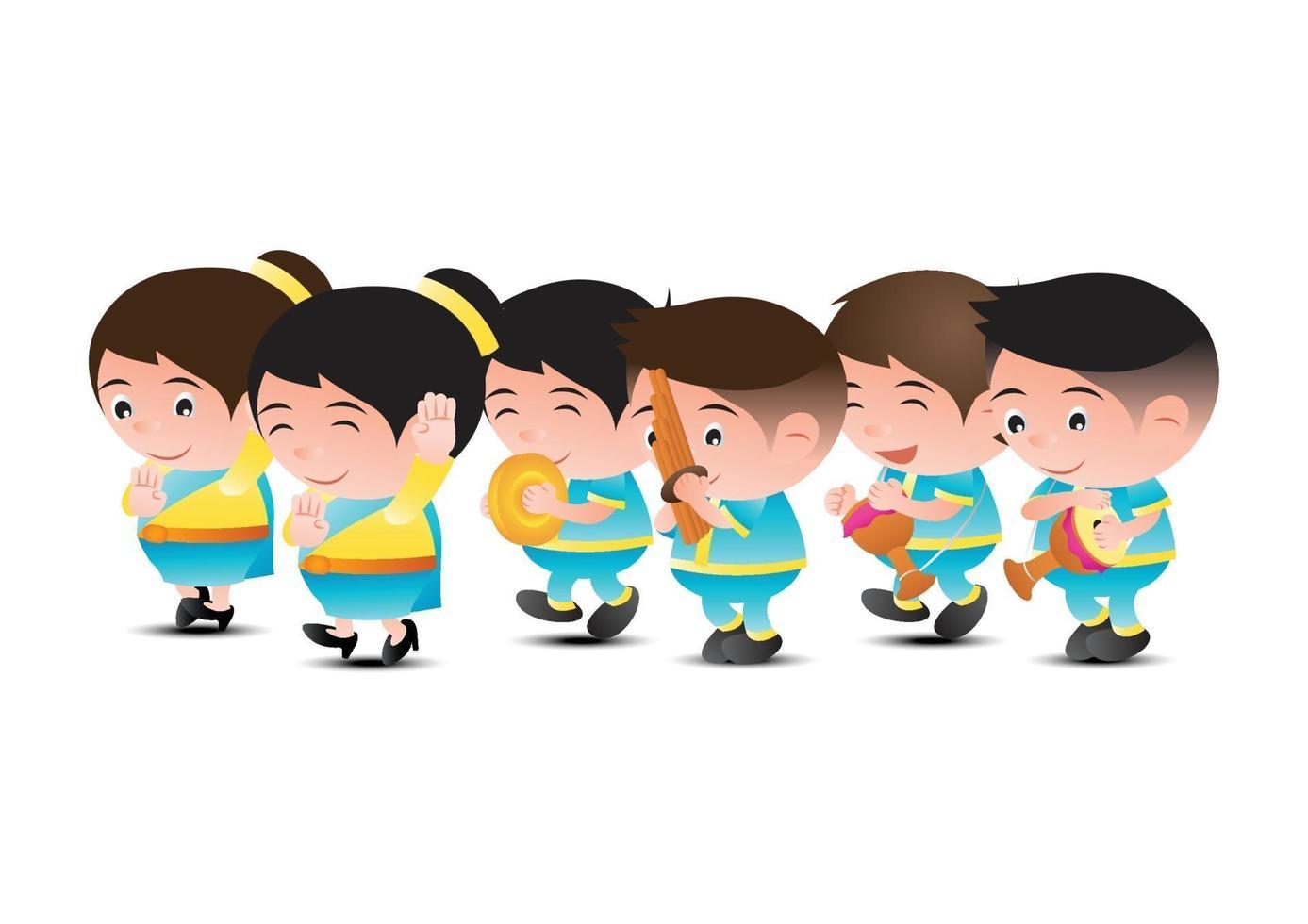 Thaise muziekbanddansers vector