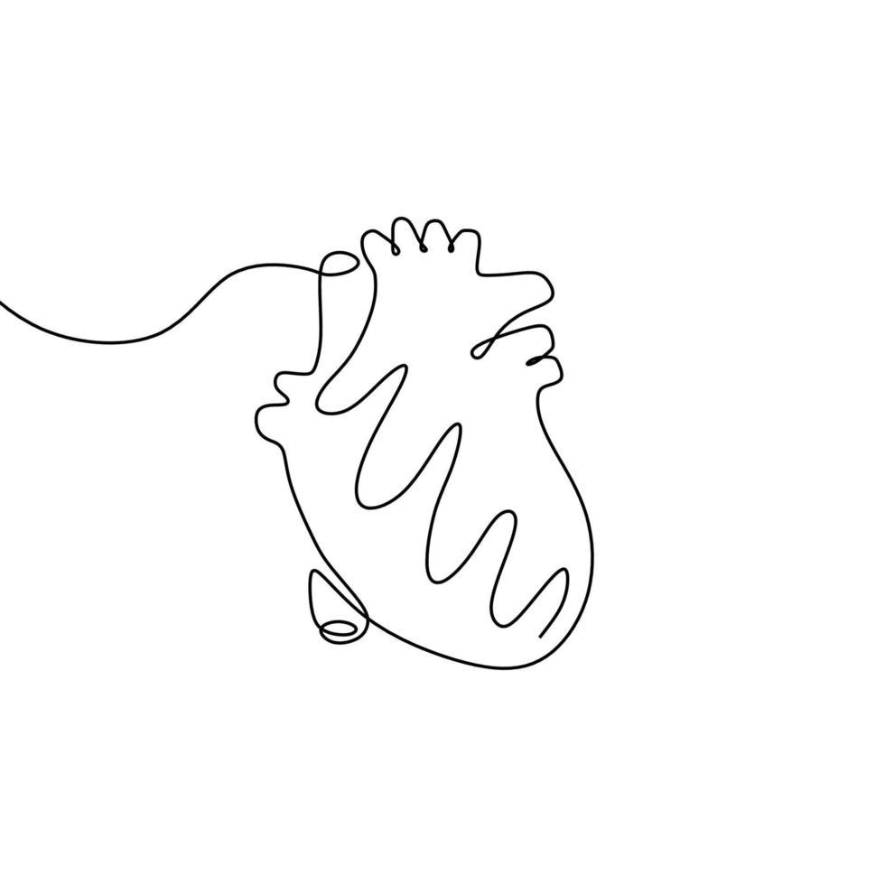 enkele doorlopende lijntekeningen anatomisch menselijk hart. gezonde geneeskunde conceptontwerp een schets omtrek tekenen. vector