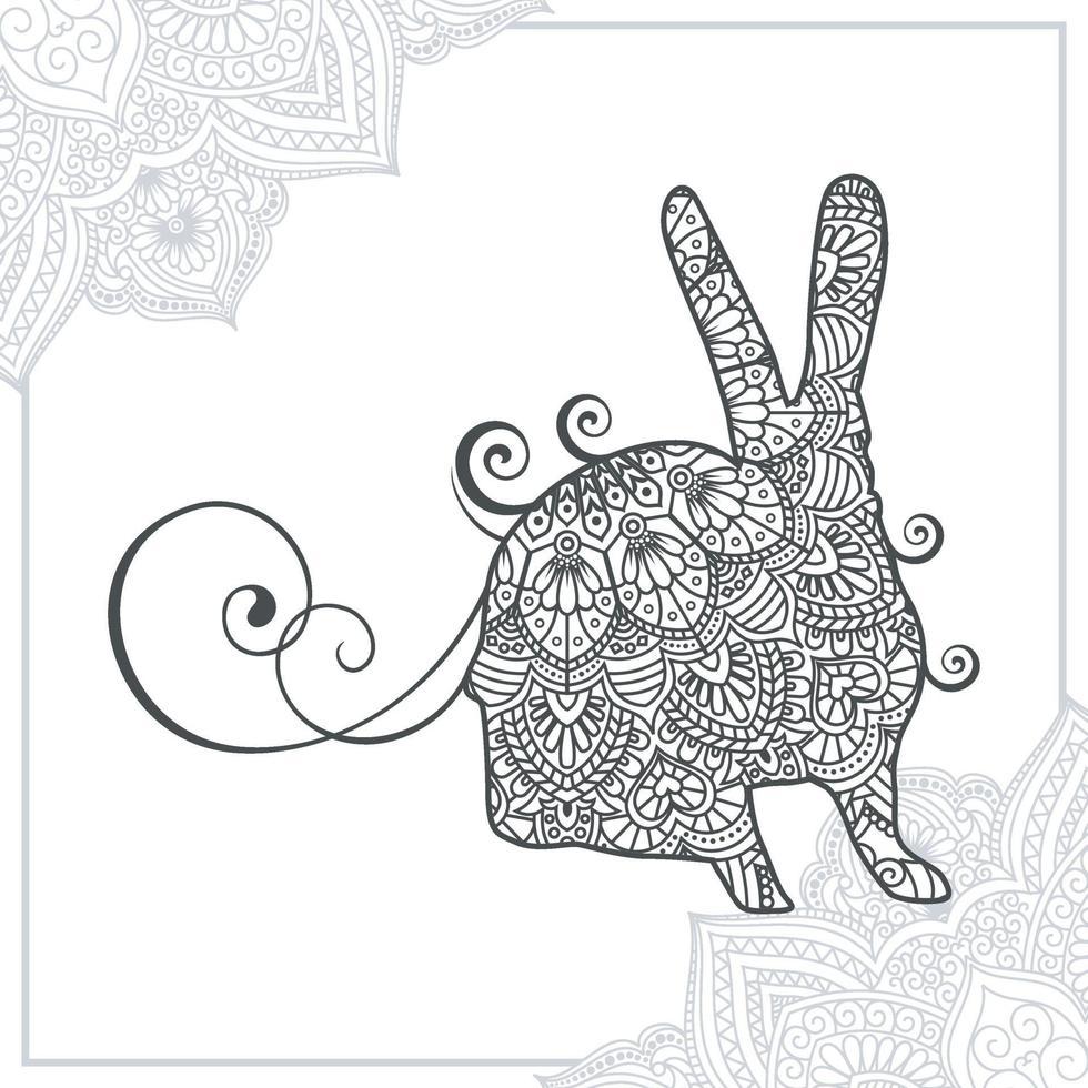 konijn mandala. vintage decoratieve elementen. oosters patroon, vectorillustratie. vector