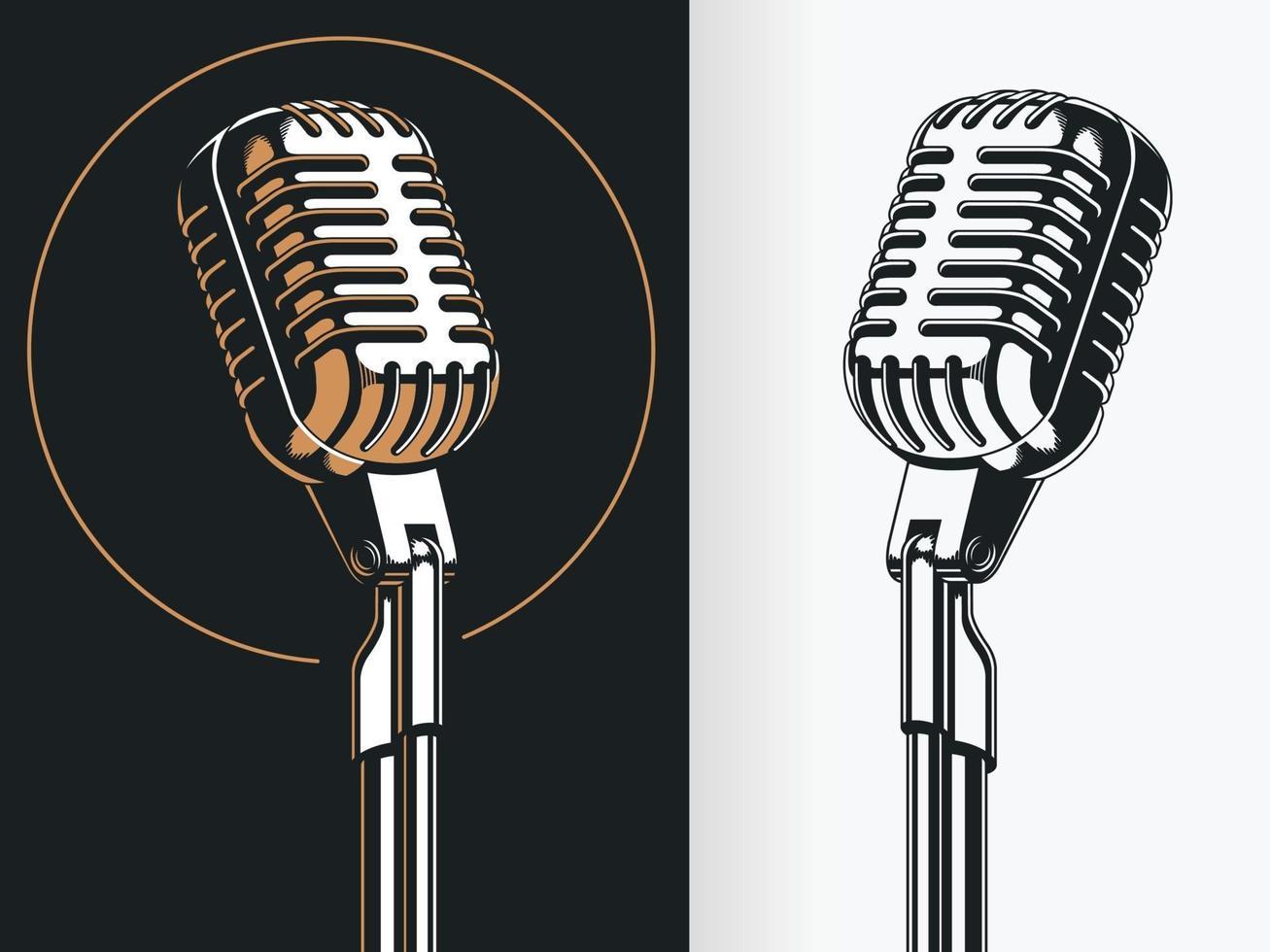 silhouet staande podium microfoon stencil vector tekening