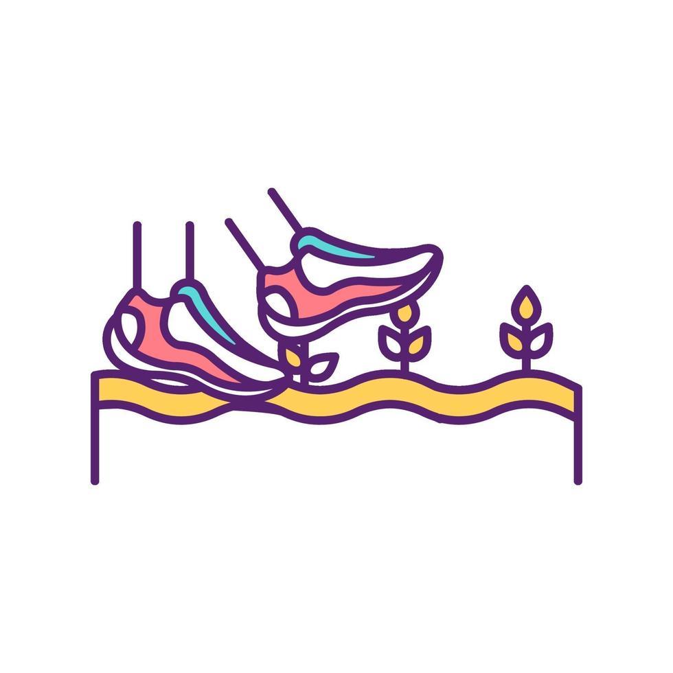 veld wandelen RGB-kleur pictogram vector
