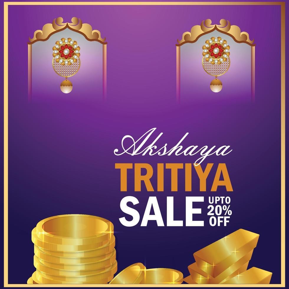 akshaya tritiya verkoop achtergrond met gouden munten en gouden oorbellen vector