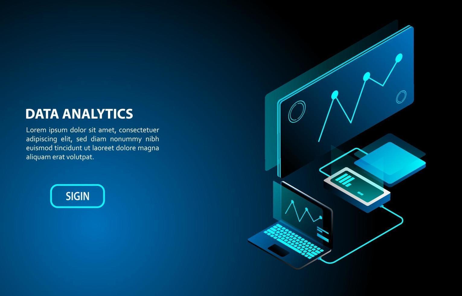 data analytics concept isometrisch ontwerp vector