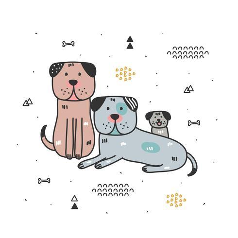 Hond Familie Vector