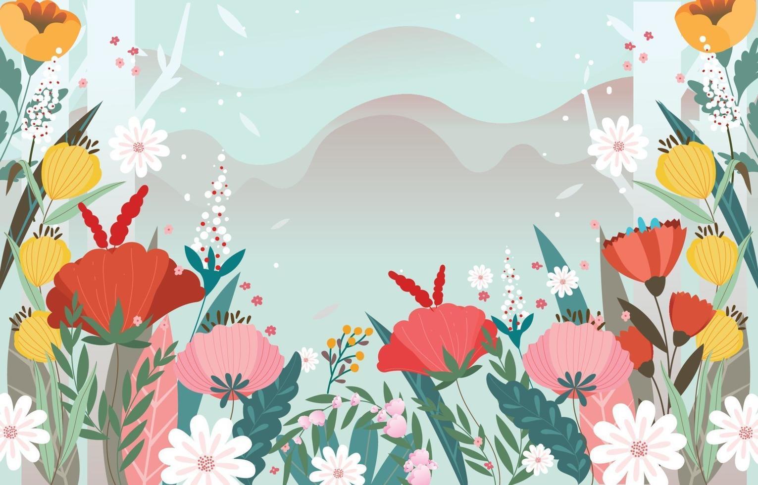 mooie bloemen achtergrond met blauwe kleur vector
