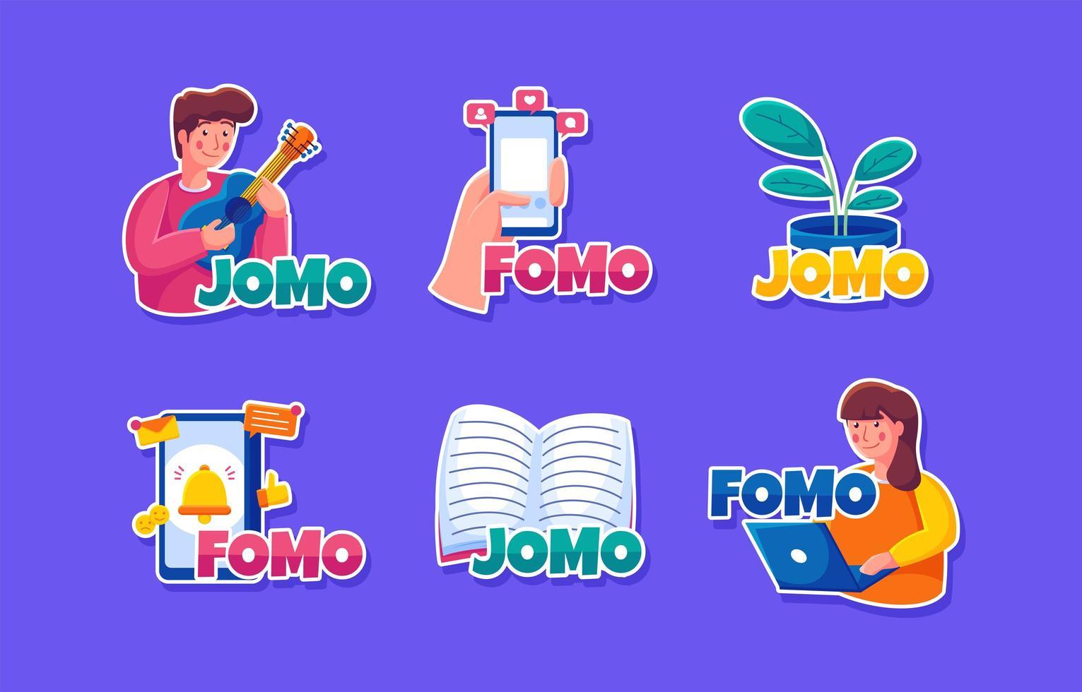 fomo en jomo stickers vector