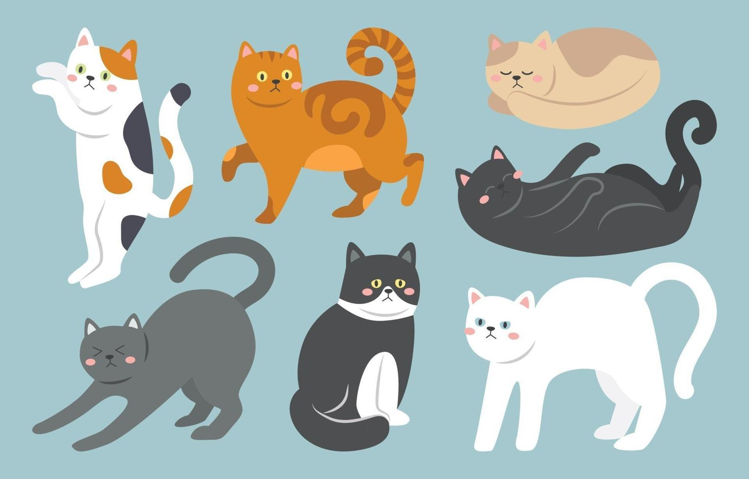 schattige kat tekenset vector