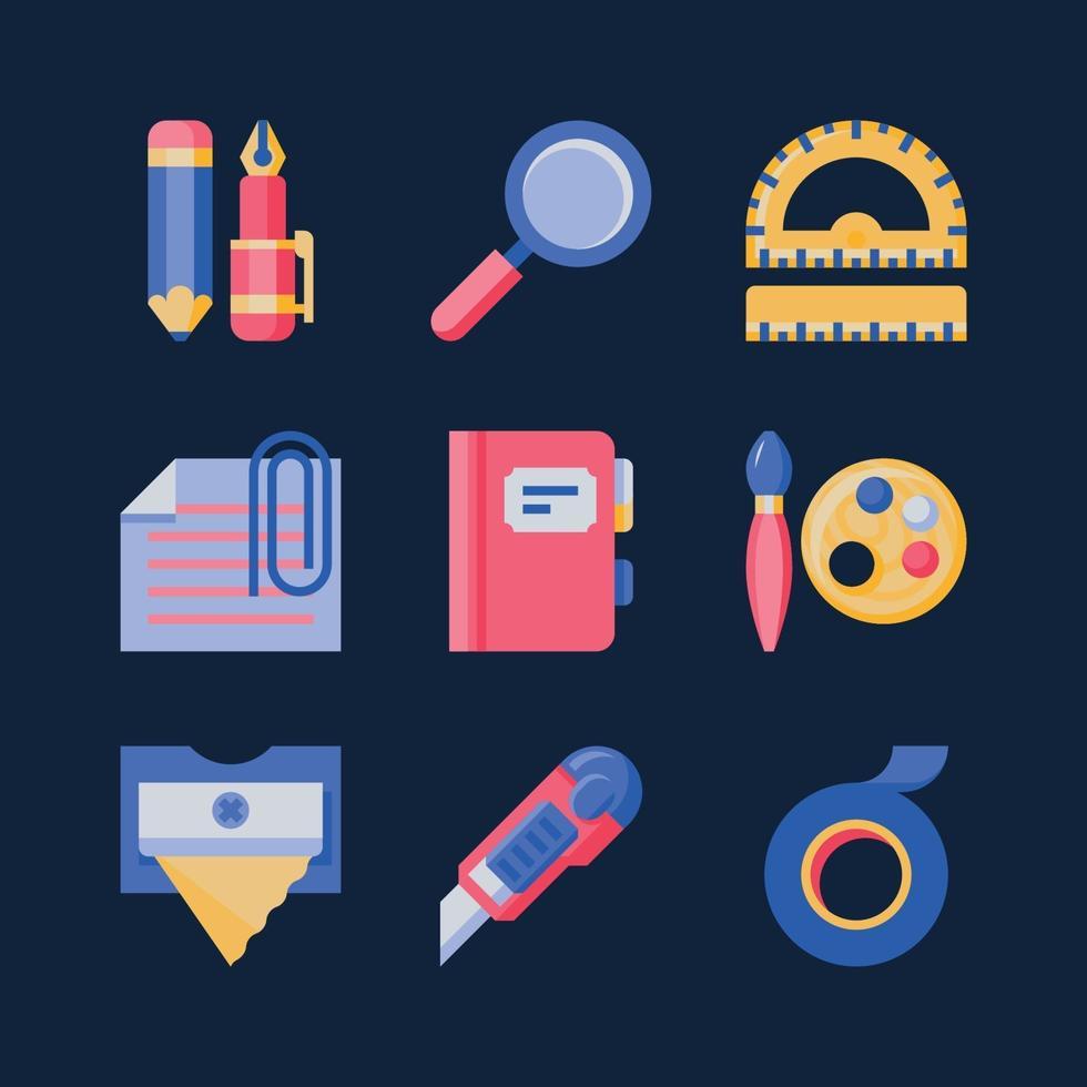 briefpapier kleurrijke platte pictogram vector