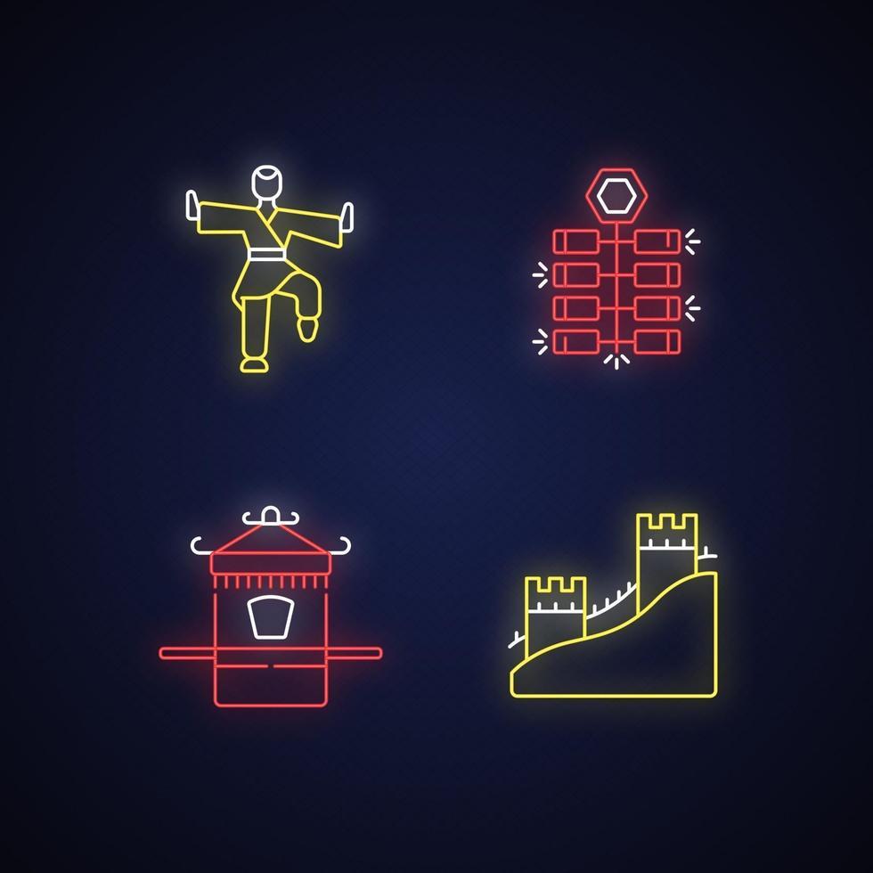 traditionele china neonlicht pictogrammen instellen vector