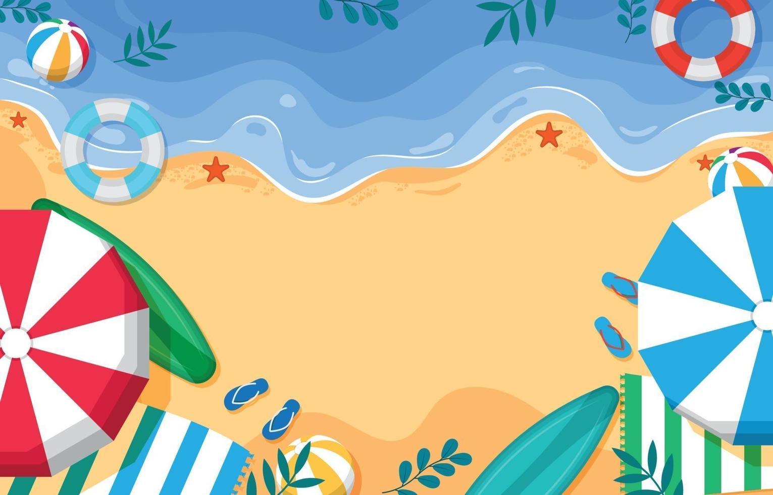 strand achtergrond bovenaanzicht vector