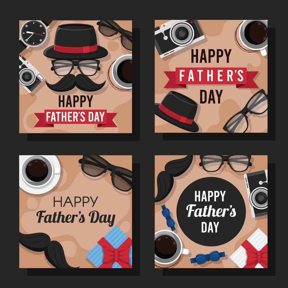 platte gelukkige vaderdagkaart vector