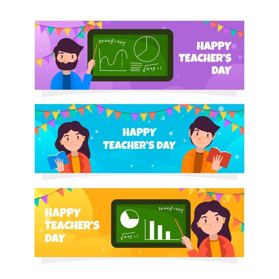 schattige lerarendag banner collectie vector