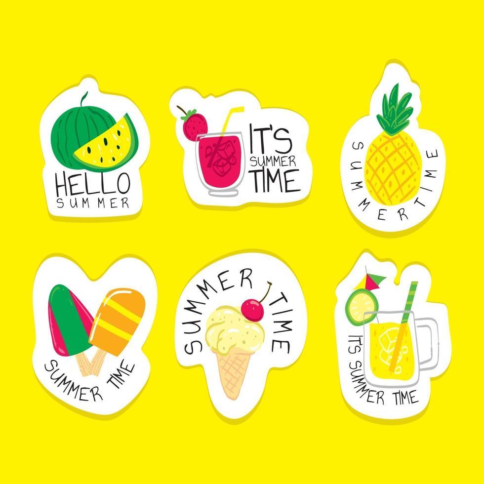 zomer voedsel sticker concept vector