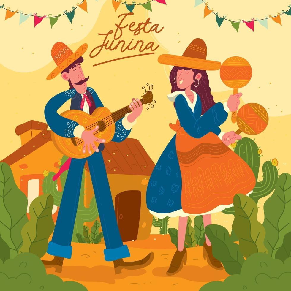 vieren festa junina illustratie concept vector