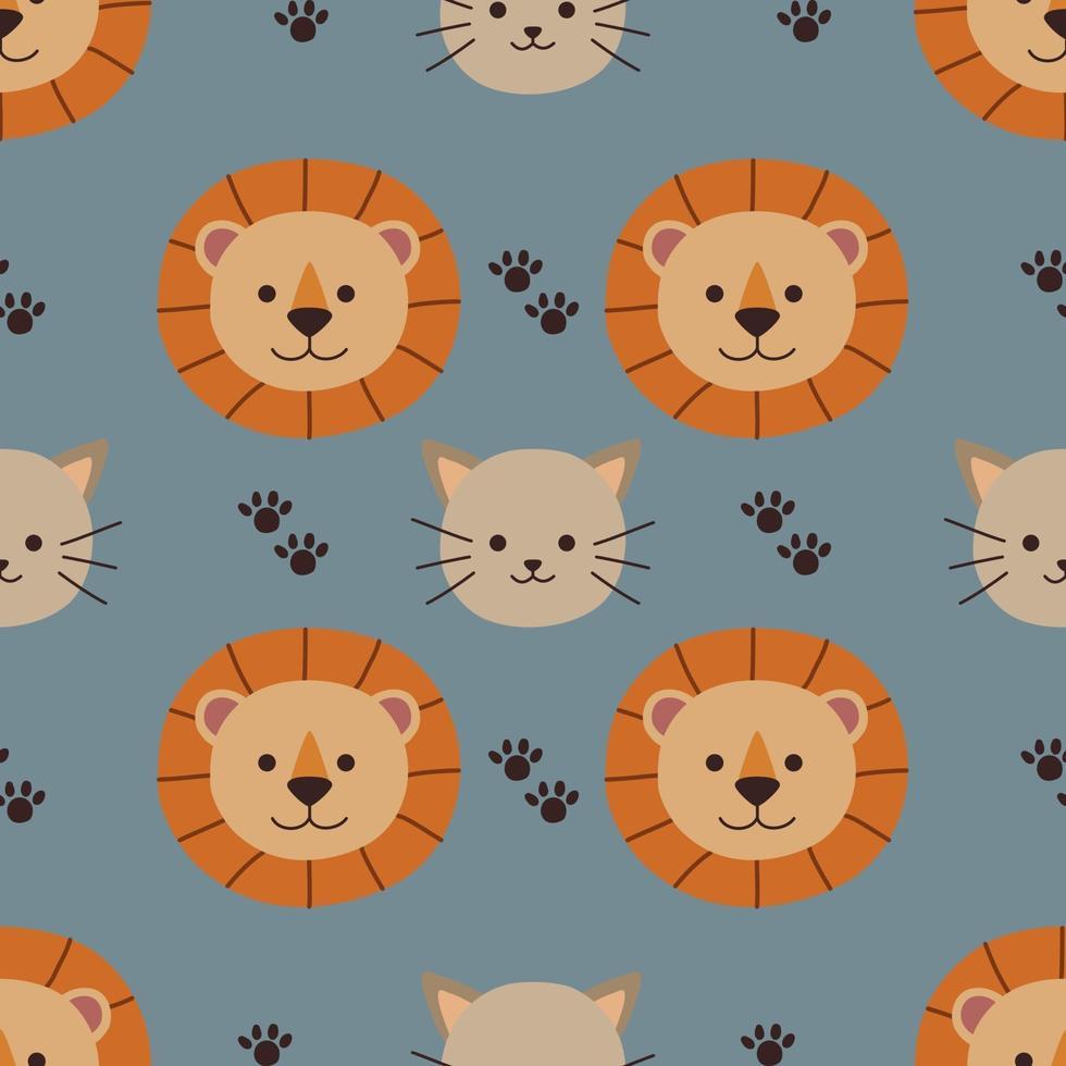 naadloze patroon over schattige kat en leeuw vector