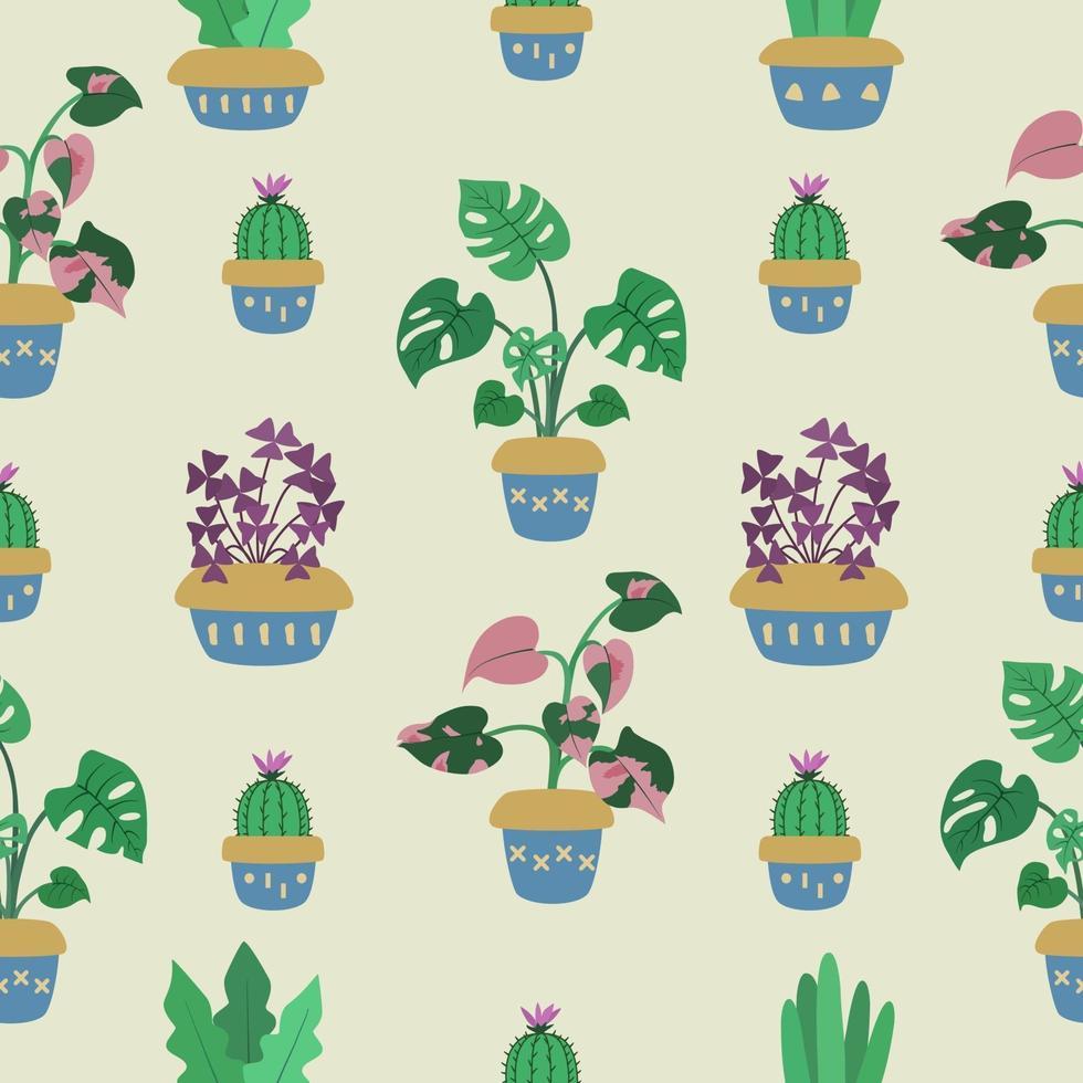 naadloze patroon over tropische kamerplant vector