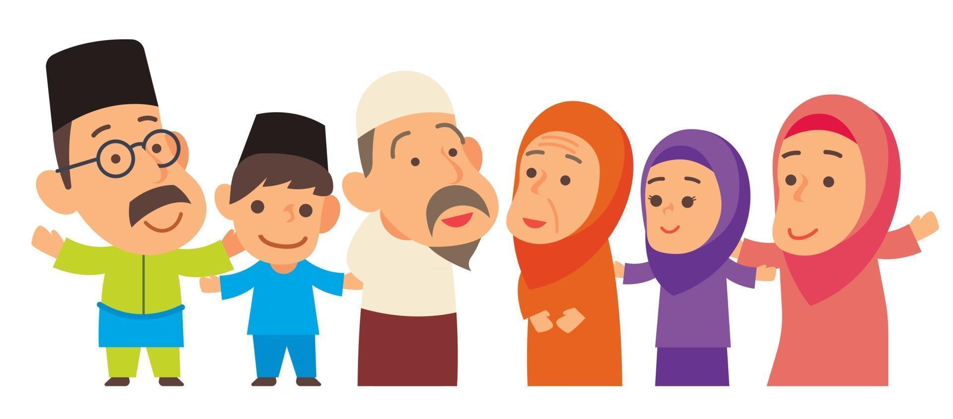 moslim familielid staan samen uitgelijnd vector