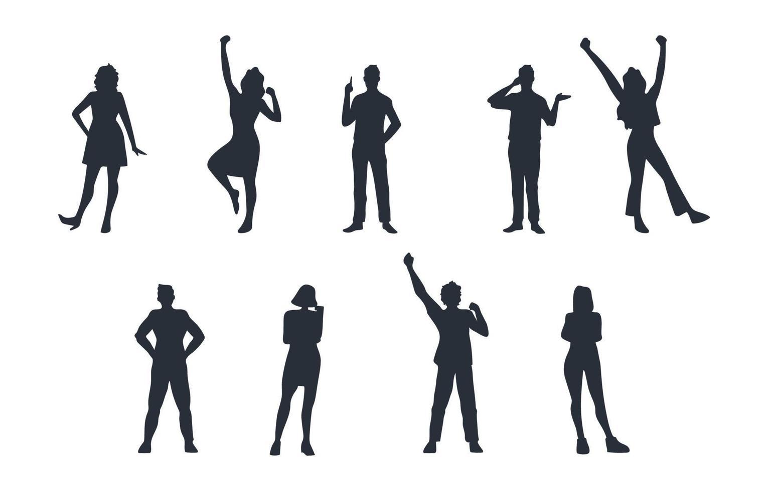 algemene volwassen mensen silhouet set vector
