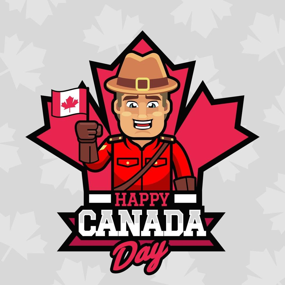 een gelukkige boswachter bij de dagillustratie van Canada vector