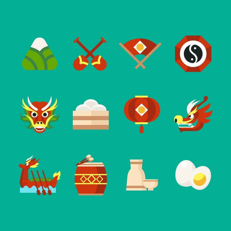Dragon Boat Festival pictogrammen vector