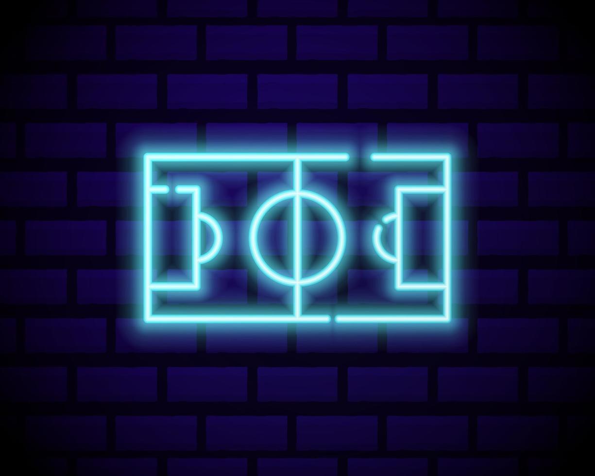 voetbalwedstrijd logo neon vector. ontwerpsjabloon voetbal neon teken, heldere nacht uithangbord, ontwerpelement voor voetbalreclame, kampioenschap Europees voetbalsymbool. vector illustratie
