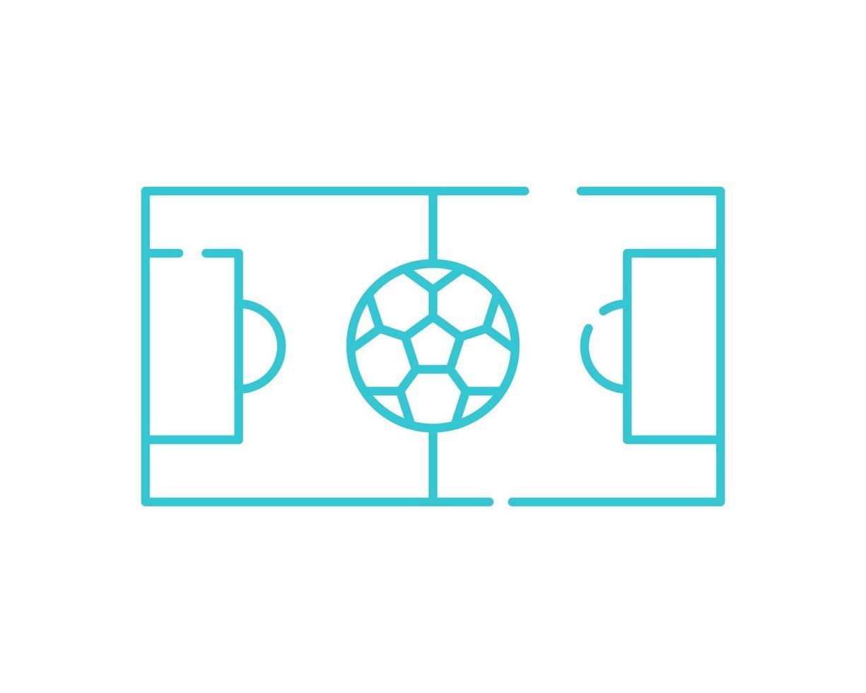 voetbalveld dunne lijn pictogram. voetbal speelgebied symbool, overzicht stijl pictogram op witte achtergrond. sport teken voor mobiel concept en webdesign. vectorafbeeldingen vector
