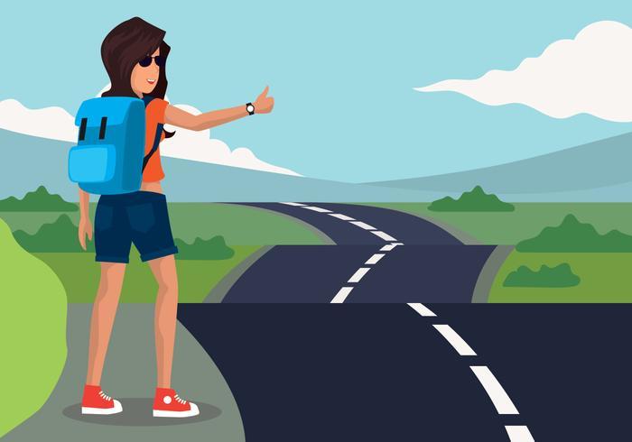 Hitch Hiker Vector Illustratie