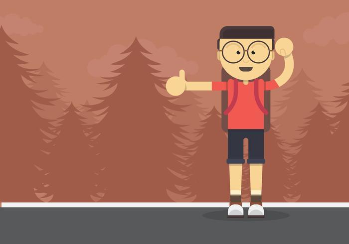 Hitch Hiker Illustratie. Jongeman karakter voor lifttocht. vector