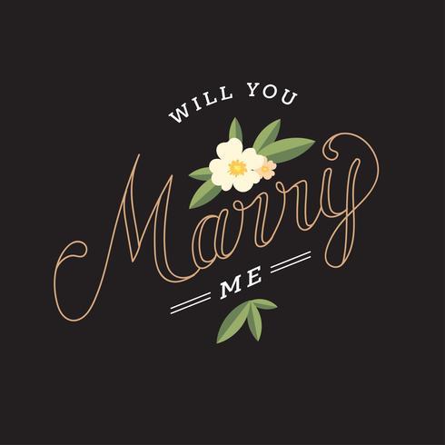 wil je met me trouwen typografie vector