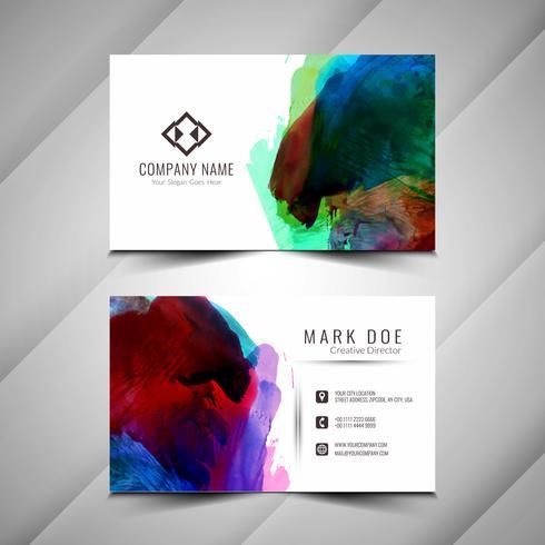 Het ontwerptempla van het abstracte kleurrijke waterverf elegante adreskaartje vector