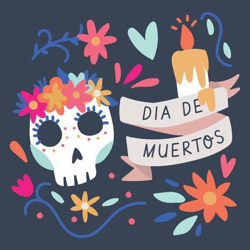 Kleurrijke achtergrond voor de dag van de doden vector