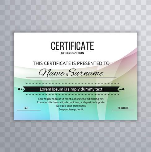 Abstracte kleurrijke certificaatsjabloon achtergrond vector