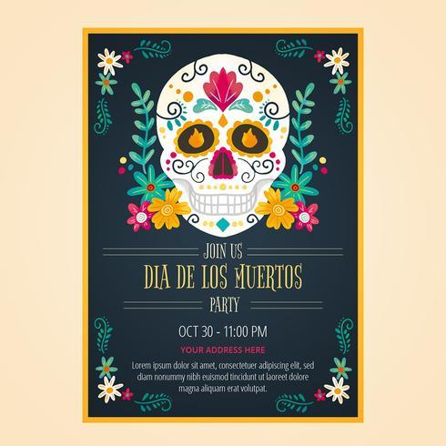 Flyer Day Of Dead In aquarel stijl vector